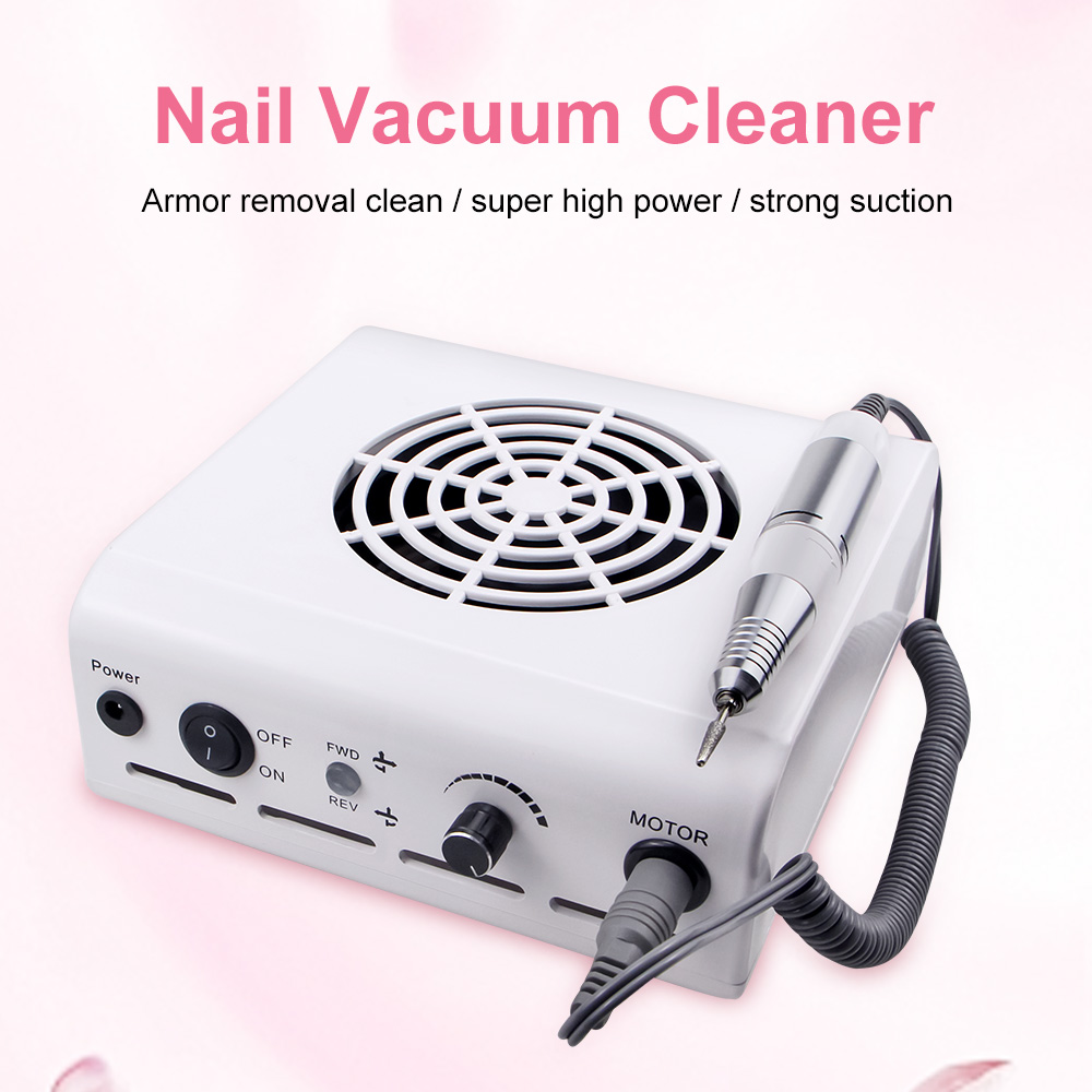 80W 2-IN-1 Nail Drill Machine & Nail Dust Collector Manicure With Powerful Fan Mill Cutter Machine F