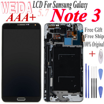 WEIDA 5.7 For SAMSUNG Galaxy Note3 SM-N9005 SM-N900 LCD Display Touch Screen Digitizer Assembly For Samsung Note 3 with Frame protective clear screen protector for samsung galaxy note 3 n9000 n9005 transparent 3 pcs