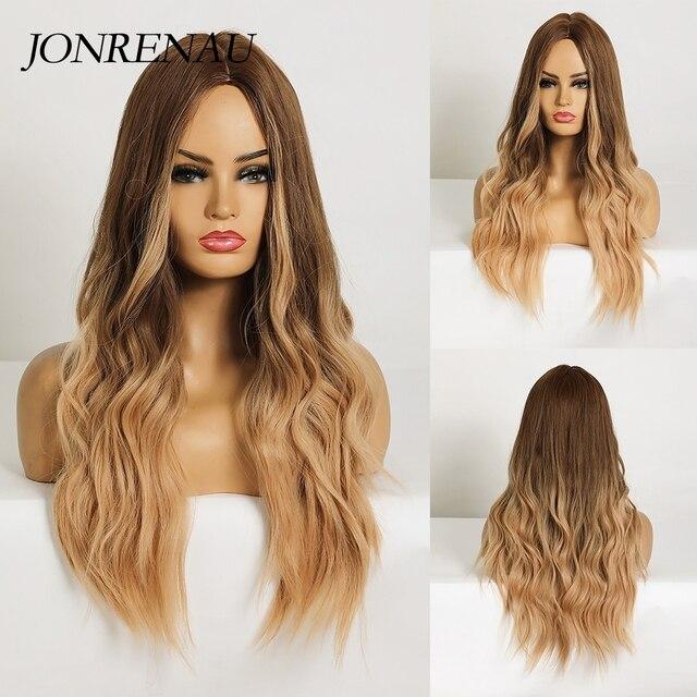 Jonrenauロング合成天然ウェーブブラウンゴールデンブロンドオンブル毛かつら日常着白人/黒女性