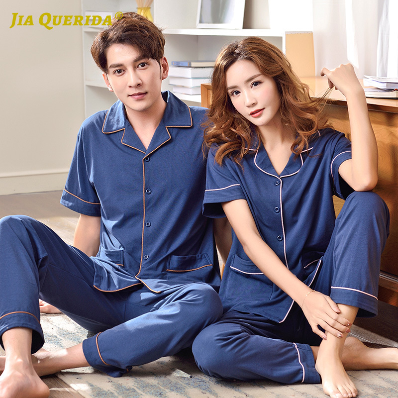 Fashion Style Homesuit Homeclothes Casual Style Short Sleeve Long Pants Sleepwear Turn Down Collar Blue Men And Women Couple