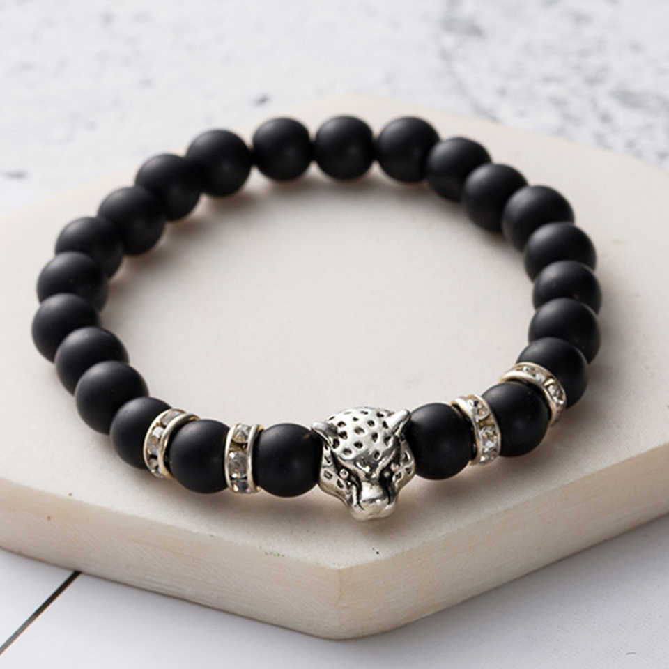 Bracelet Men Beaded Trendy Black Lava