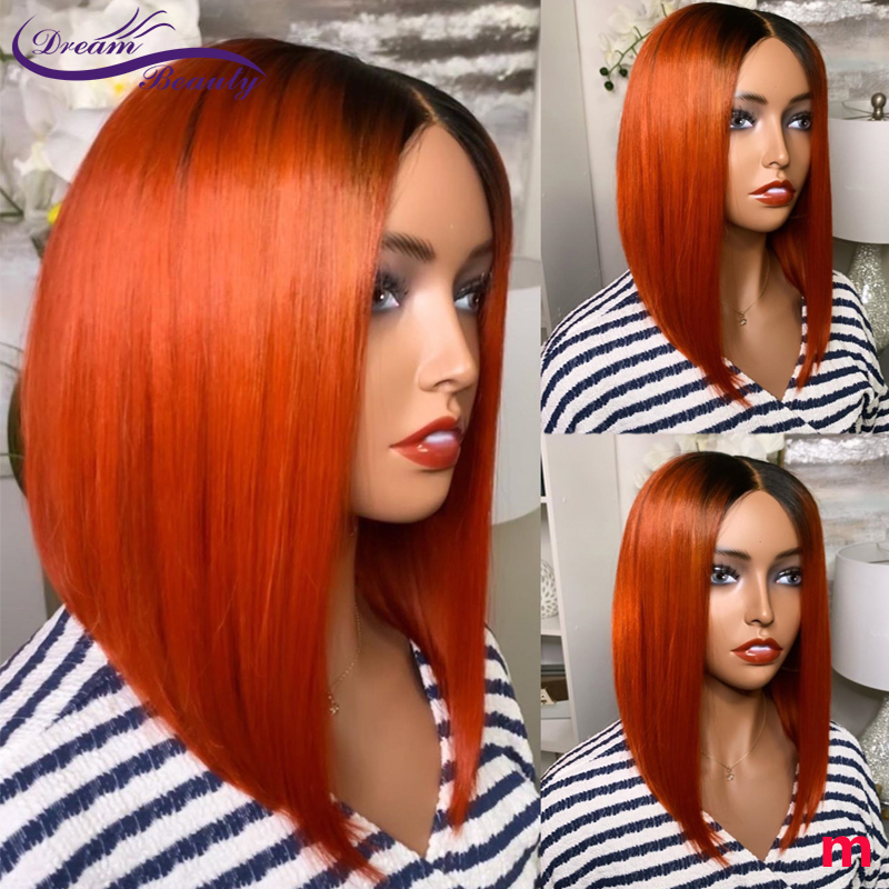 Orange Brazilian Lace Front Human Hair Wig 180% Ombre Orange Ginger Color Straight Human Hair Wigs 13*4 Short Bob Remy Wigs