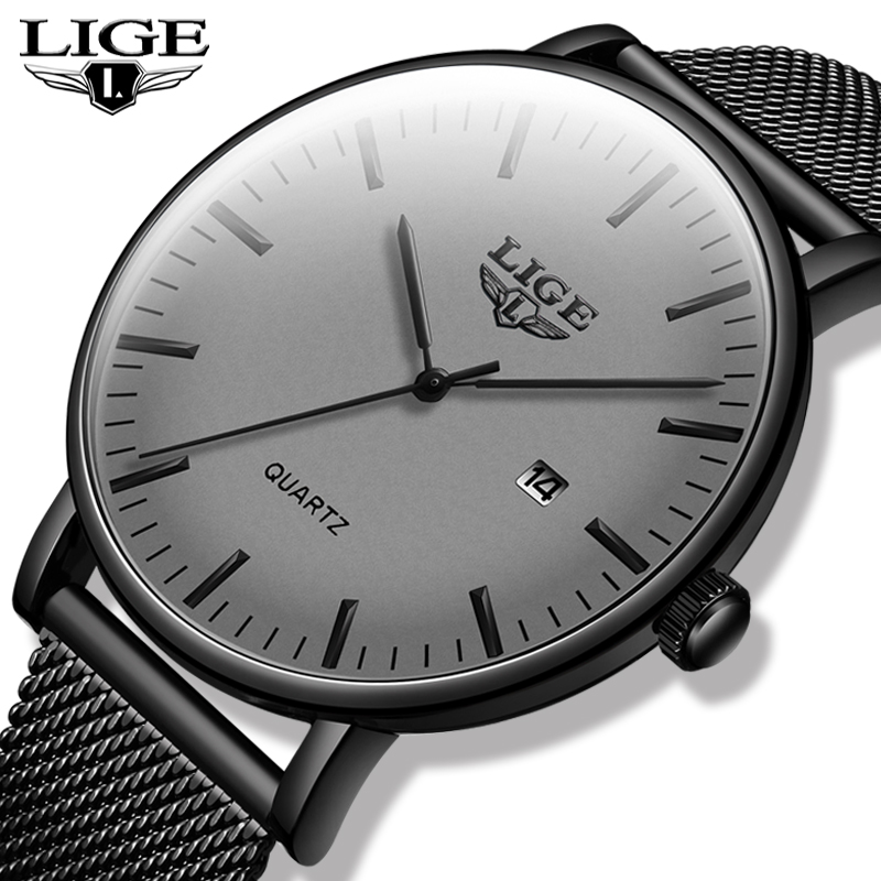 2020 Original  New Gray Stainless Steel LIGE Top Brand Luxury Mesh Wristwatch High Quality Date Watches Mens Relogio Masculino