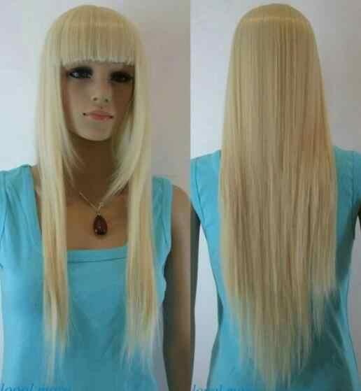 Ювелирные изделия Парик светлые прямые челки длинные женские повседневные полный синтетический парик Бесплатная доставка
