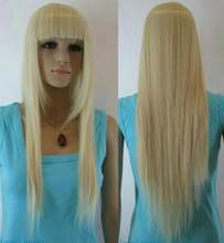 Jewelry Wig Light Blonde Straight bangs Long Women Ladies Daily Full Synthetic Wig Free Shipping(China)