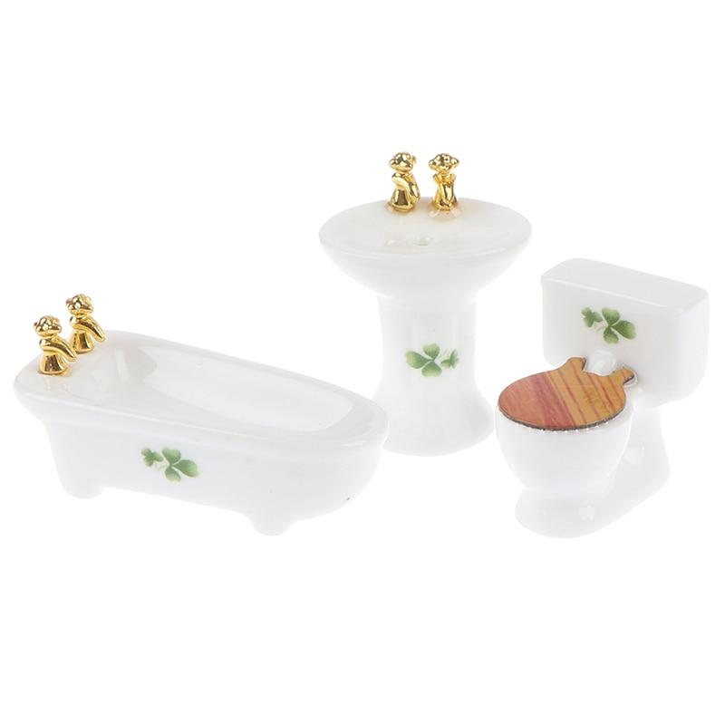 1Set 1/24 Dollhouse Miniature Bathroom Set Ceramic Bathtub Toilet for Dolls House Furniture Play Toy