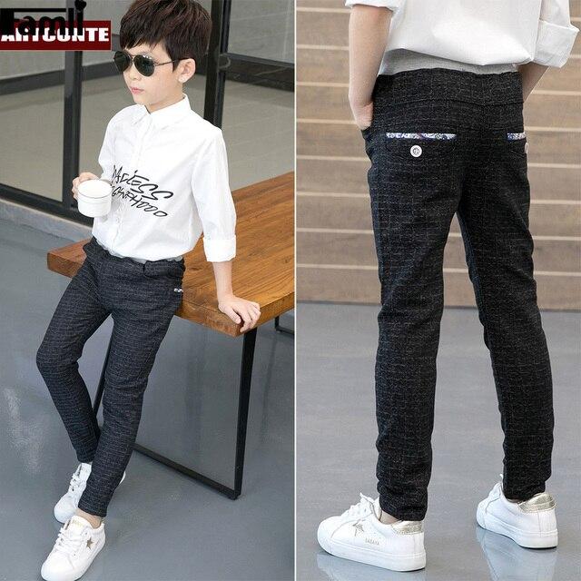 Calças para meninos calças casuais menino xadrez escola calças de cintura elástica crianças de comprimento total moda meninos grandes leggings