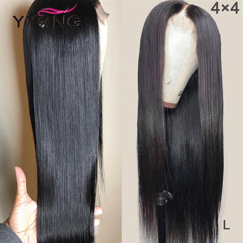 Yyong 4x4 Lace Closure Wigs Peruvian Straight Lace Closure Wigs For Black Woman Remy Closure Human Hair Wig Low Ratio