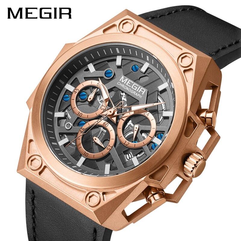 MEGIR Mens Quartz Wrist Watch Man with Stainless S