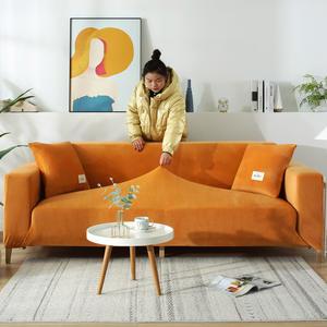 Sofa-Cover Chaise Velvet Elastic Living-Room Thicken L-Shaped Plush Sectional for Longue
