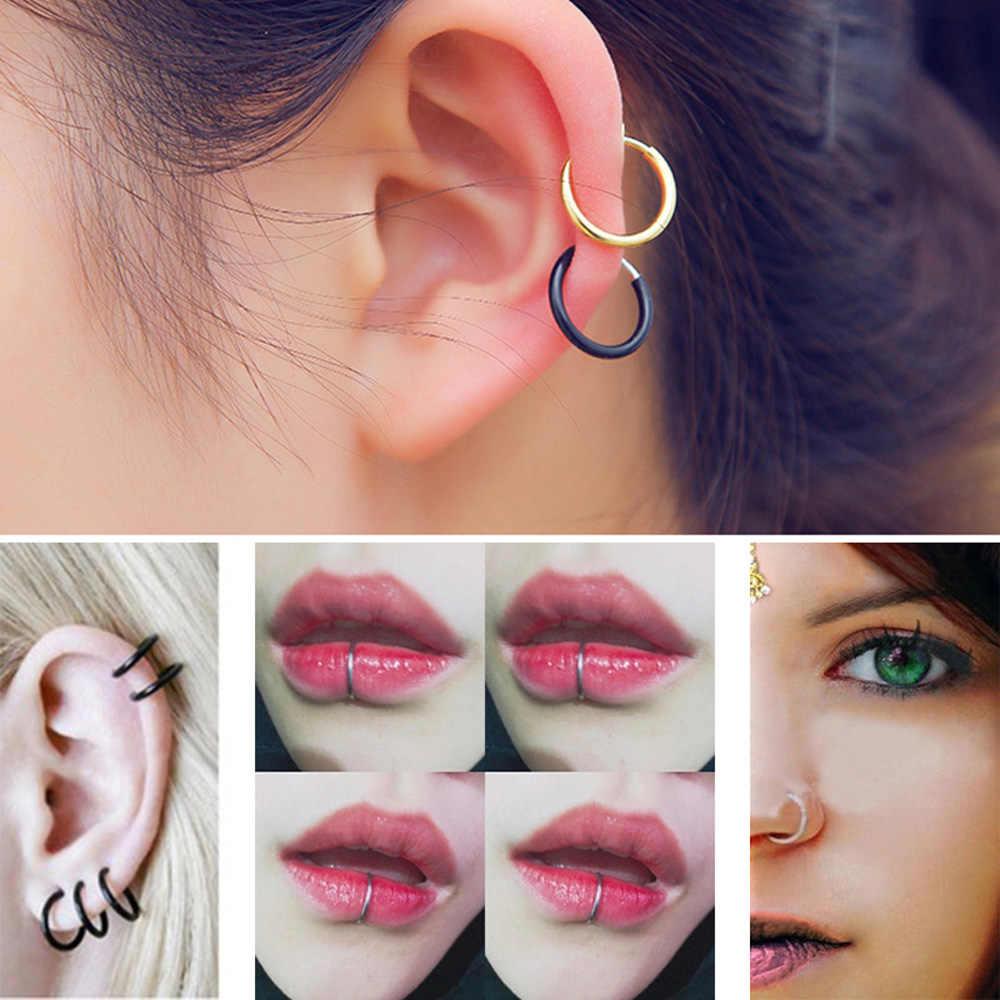 2 Buah Hidung Palsu Cincin Goth Punk Bibir Telinga Klip Hidung Palsu Septum Piercing Cincin Hidung Ring Bibir Ring cincin Anting-Anting