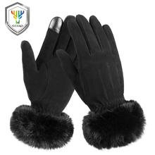 Touchscreen Gloves OZERO Rabbit-Fur-Cuff Winter Womens Deerskin And with Suede