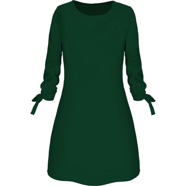 Spring New Fashion Solid Color Dress Casual O-Neck Loose Dresses 3/4 Sleeve Bow Elegant Beach Female Vestidos Plus Size 2