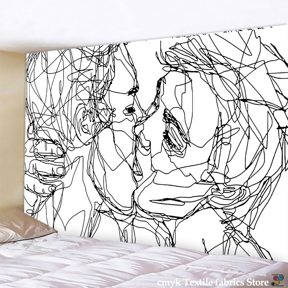 Creative Line Draw Tapestry Wall Hanging Boho Decor Hippie Kiss Psychedelic Wall Tapestry Abstract Carpet Wall Cloth Tapestries