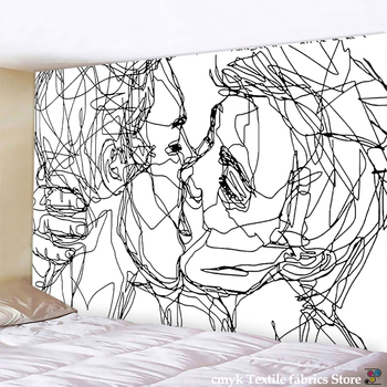 Creative Line Draw Tapestry Wall Hanging Boho Decor Hippie Kiss Psychedelic Abstract Carpet Cloth Tapestries - discount item  56% OFF Home Textile