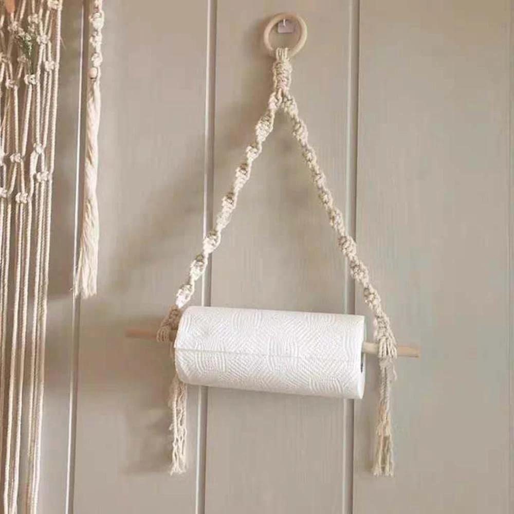 ins support de rouleau de papier toilette en macrame etagere murale suspendue corde tissee a la main decoration murale de la maison