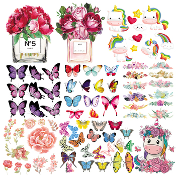Iron-on Transfers Patches Beautiful Flowers Parches Butterfly Set Heat Stickers Print On Girl T-shirt Shoes Hat Socks