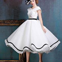 2020 nuevo negro y blanco retro té longitud vestido de novia corto sin mangas Informal 1950s 60s vestido de novia hecho a medida