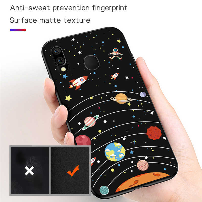 Cool Moon Space สำหรับ Samsung Galaxy A70 A60 A50 A40 A30 A20 A20e A10 A2 Core นุ่มซิลิโคนฝาครอบสีดำ TPU Coque Capa