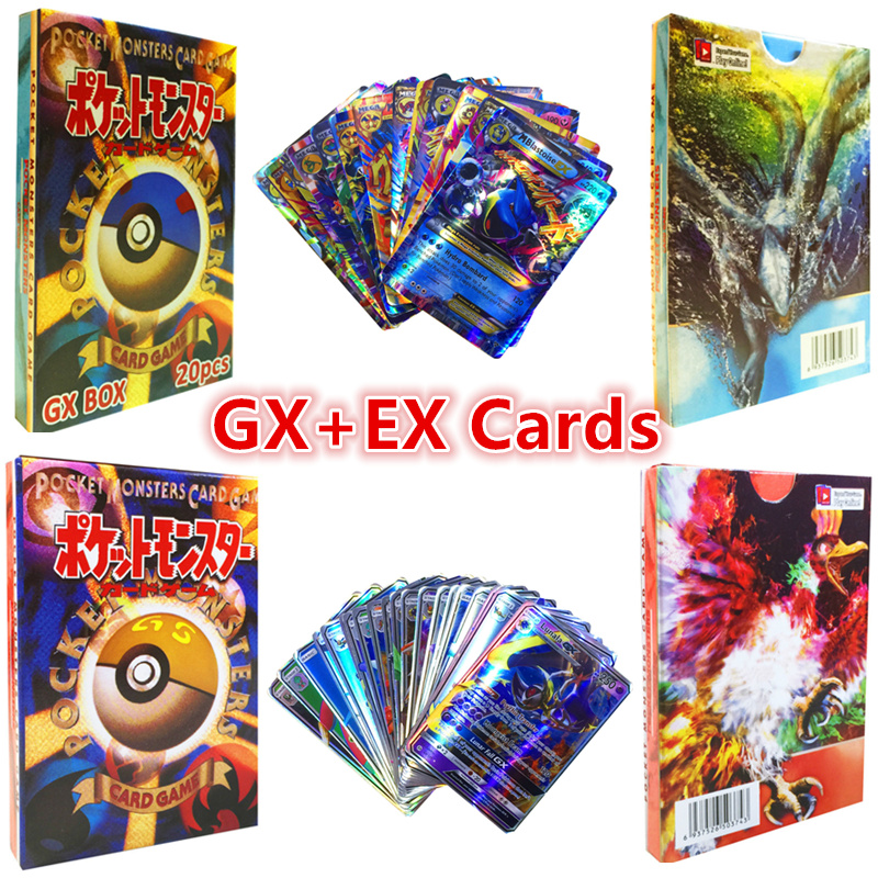 20Pcs/set Pokemon GX MEGA Cards with Color Paper Box Anime Game English Shining Battle Carte Pokemones Toys for Children Gifts image