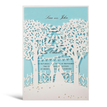 WISHMADE White Invites Cards with Laser Cut Trees Bride and Groom Design Wedding Invitations Blue inner paper,Customizable 50pcs