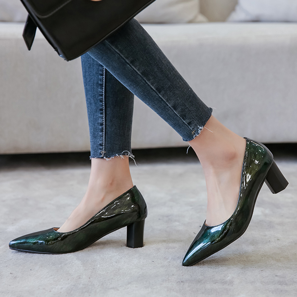 Sarairis 2020 New Fashion Square High Heels Pointed Toe Office Lady Pumps Woman Shoes Slip-On Spring/Autumn Shoes Women Pumps
