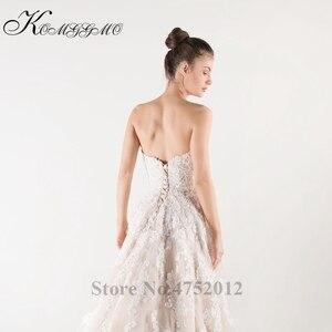 Image 2 - Lace Appliques Tulle A Line Wedding Dress Vestidos De Novia 2019 Elegant Strapless Robe De Mariée A Line Bridal Gown