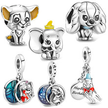 Animal Charm 100% 925 Sterling Silver Dumbo Stitch Beads fit Pandora Pendant Woman Bracelet Exquisite Gift Jewelry making