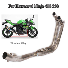 Titanium Exhaust System Pipe Header Front Link Connect Pipe Motorcycle Vent Pipe 2017-2019 For Kawasaki Ninja 400 250 Slip On кабель general pipe pipe hs 400 10 2х10 для дракон 400