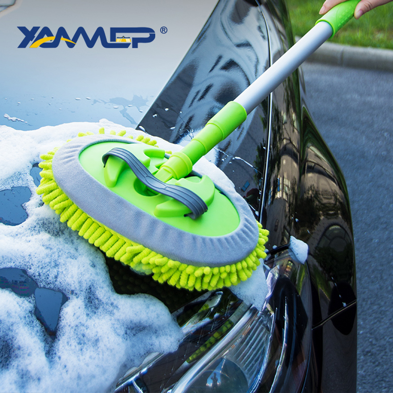 Car Wash Brush Cleaning Mop Chenille Cloth Telescoping Long Handle Car Cleaning Brush Car Accessories Car Cleaning Tools Xammep