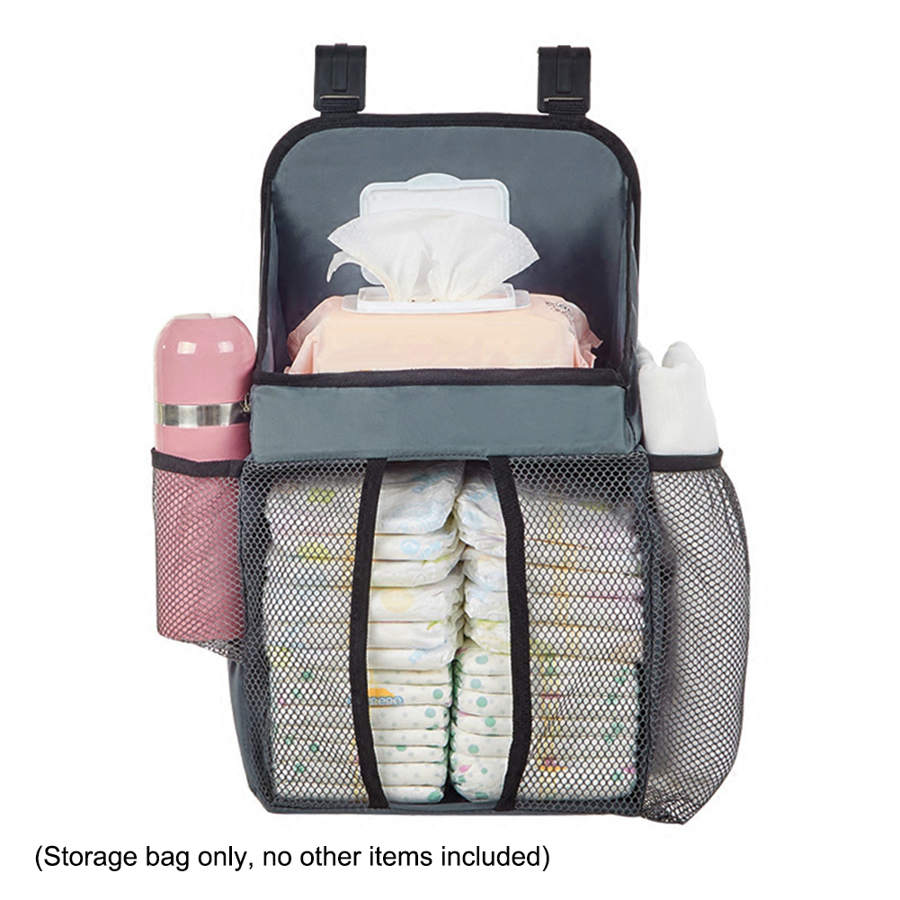 Baby Crib Hanging Bags Breathable Portable Bedside Organizer Diaper Storage Bag Box Oxford Cloth Baby Storage Hanging Bag