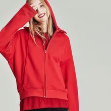 Хавва осень и зима сплошной цвет хлопок пуловер с капюшоном для женщин на молнии свободные спортивные повседневные короткие толстовки с капюшоном W4153