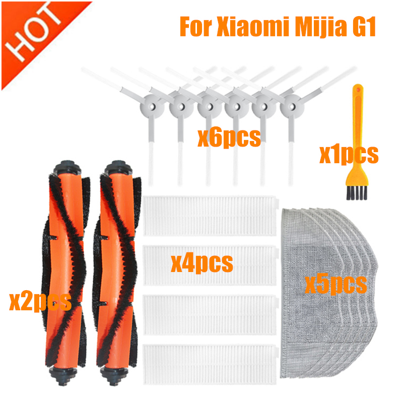 Escova principal filtro hepa escova lateral mop pano limpo kit de ferramentas para xiaomi mijia g1 robô aspirador peças acessórios mjstg1