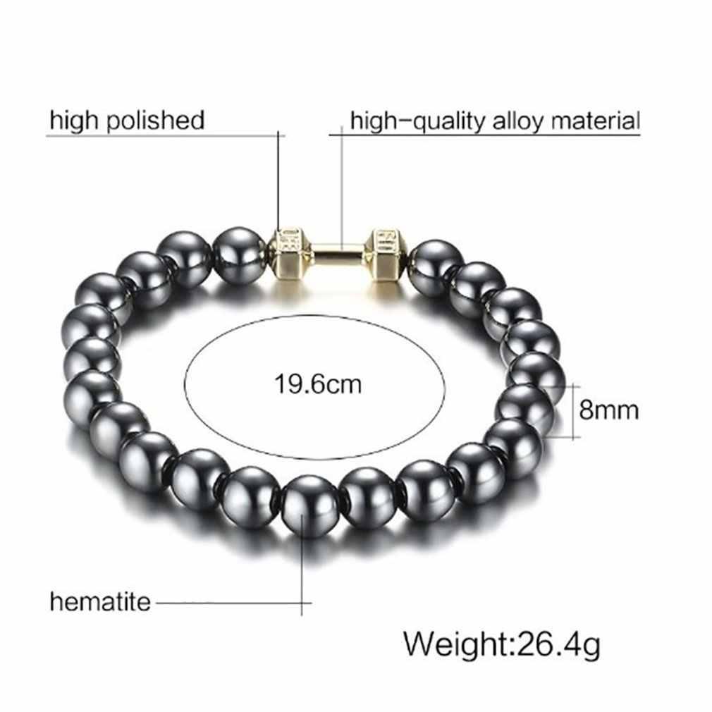 1 adet manyetik siyah taş manyetik terapi sağlık boncuk bilezik Unisex kilo kaybı yuvarlak hematit siyah taş bilezikler