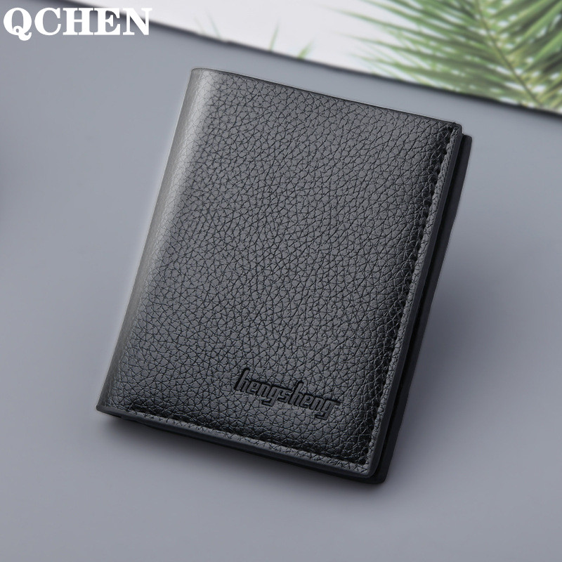 Men's Wallet Short New Wallets Men Mini Vertical Section British Casual Multi-function Card Bag Retro Triangle Folding Small 625