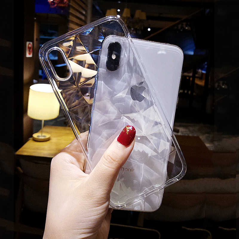 Luxury 3D Diamond TPU Case for iphone XS XR XS Max Transparent Silicone Soft Clear Cover for iphone 5 5S SE 6 6S 7 8 Plus X Case