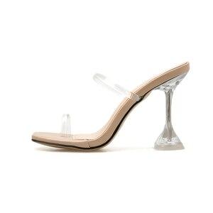 Image 3 - Kcenid été nouveau PVC gelée pantoufles femmes chaussures à bout ouvert sexy talons hauts cristal femmes transparent talon sandales diapositives pompes