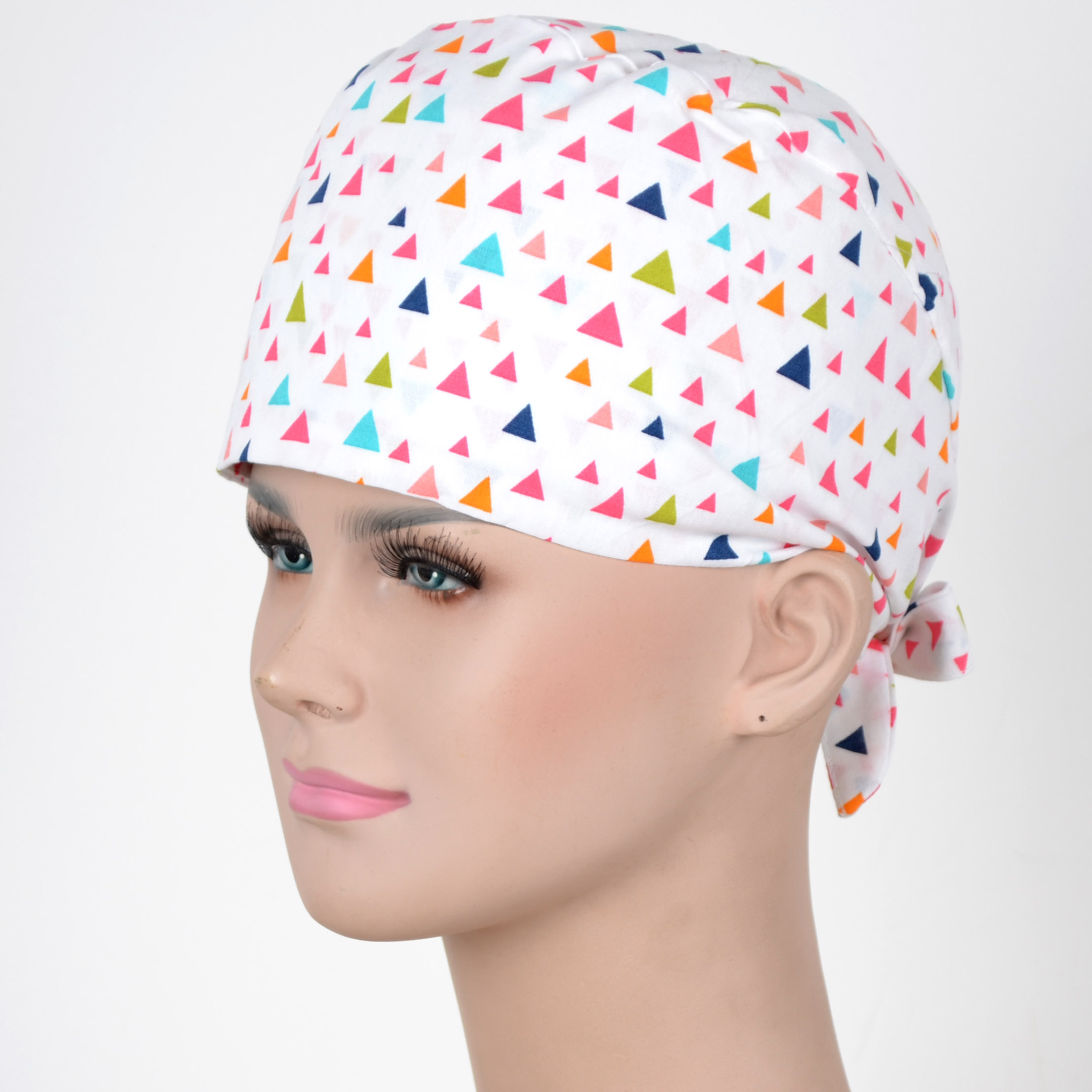 Hennar Wome Cotton Scrub Caps In White 100% Cotton  Hospital Medical Hats Print  Unisex Surgical Caps Mask