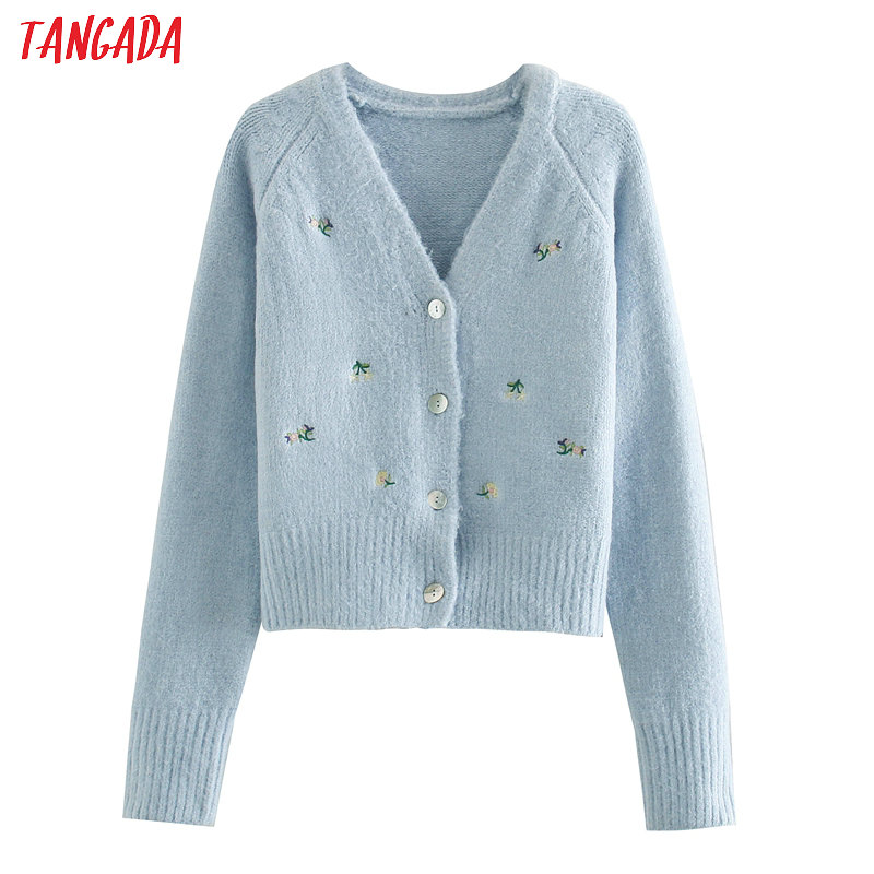 Tangada Women Elegant Embroidery Blue Cardigan Vintage Jumper Lady Fashion Knitted Cardigan Coat 3L03