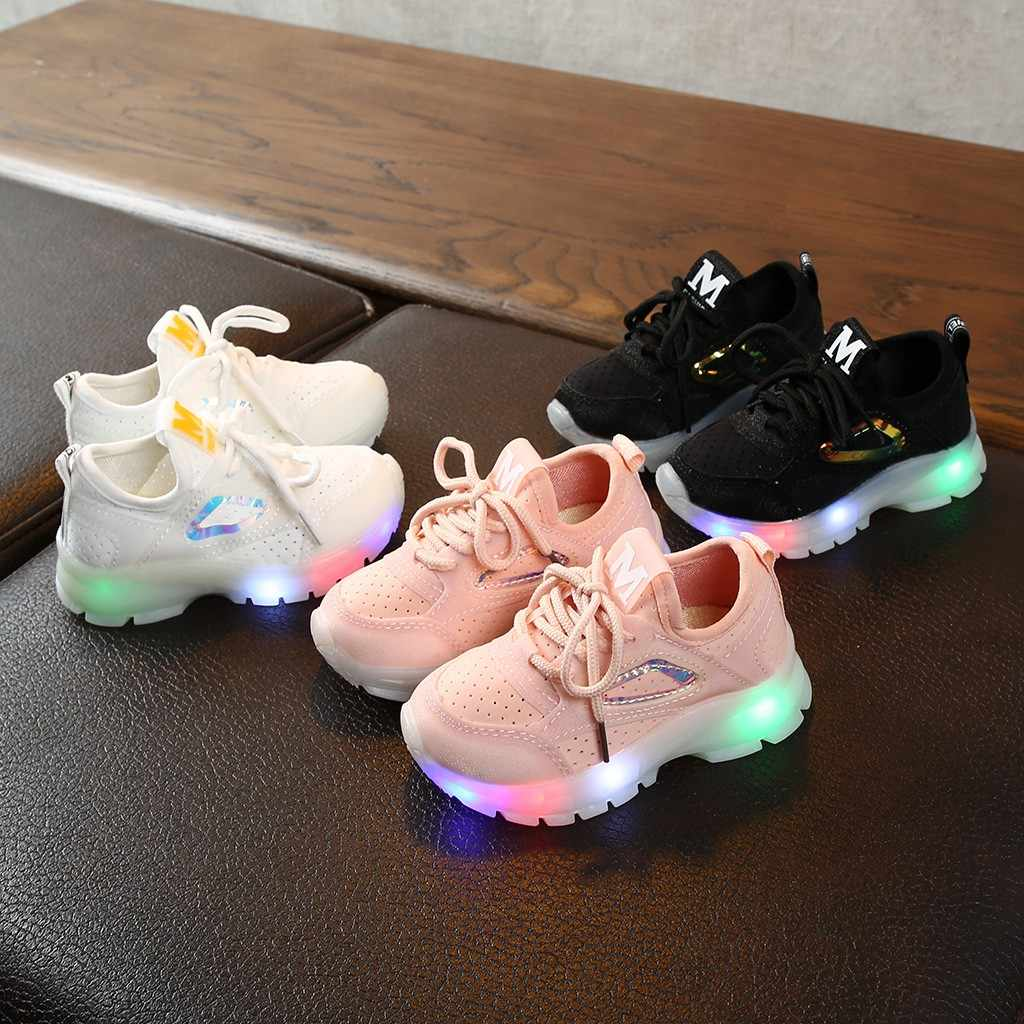 2019 autumn new Anti-slip Children Baby Girls Boys Shoes Breathable Mesh Led Luminous Sport Run Sneakers Running Shoe For Kids