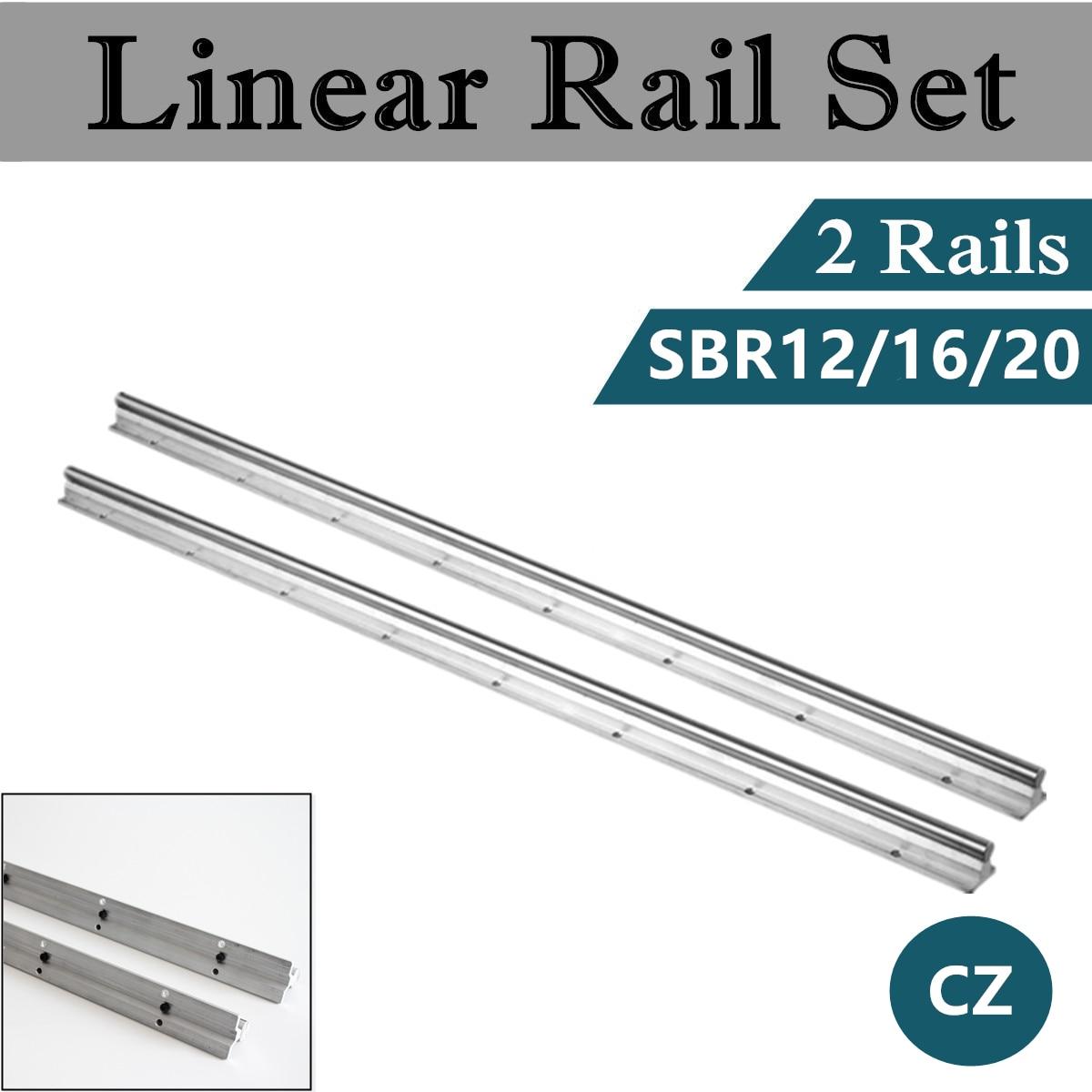 2PC Bearing Linear Supported Rail SBR12 SBR16 SBR20 300/400/500/600/800/1000/1200/1500mm Linear Guide Rail Shaft Rod CNC Rounter