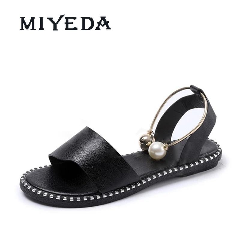 MIYEDA Women Shoes Sandals 2021 Summer Non Slip Pearl Anklet Shallow Punk Style Female Sandal Metal Decoration Slip-on Shoe