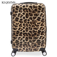 KLQDZMS 202428inch Fashion trolley suitcase zebra Leopard Print rolling luggage carry on travel bags on wheel