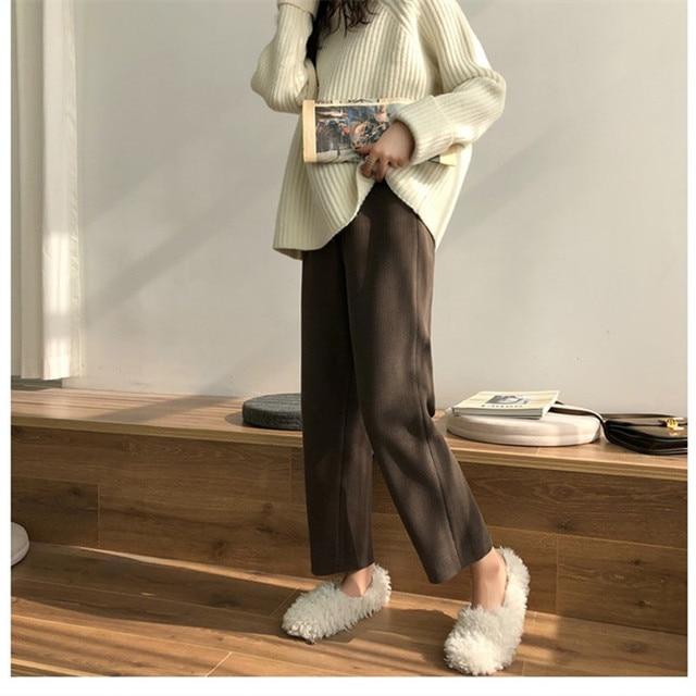 Elegant High Waist Corduroy Pants 4