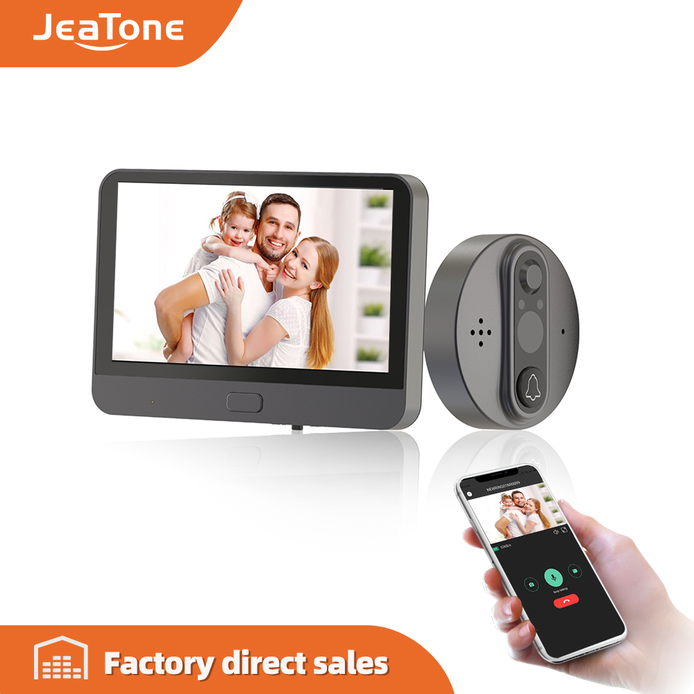 Jeatone 4.3''New Wifi Doorbell With Peephole Camera&Monitor For Smart Home Support Moniton Detect And Phone APP Remote Control