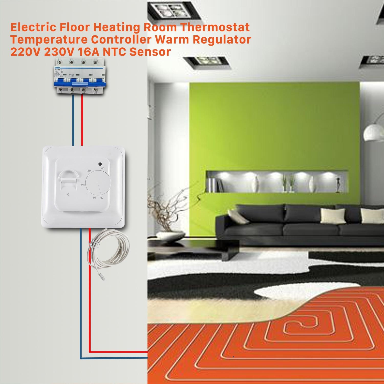 Riscaldamento A Pavimento E Raffreddamento nashone manuale regolatore di temperatura del termostato 220v 230v 16a ntc  sensore di riscaldamento a pavimento elettrico termostato caldo regolatore