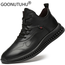2019 new fashion men's shoes casual genuine leather male flats sneakers height increasing shoe man solid platform shoes for men forudesigns women fashion high top flats shoes cool skull design female height increasing platform shoes for teenage girls shoes