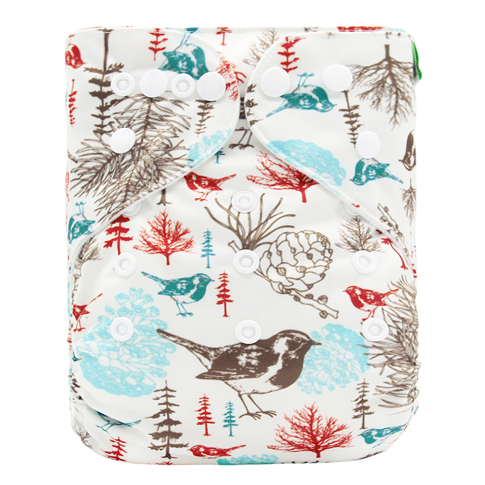 Goodbum Washable Adjustable Little Bird Printed Cloth Diaper Double Row Snaps Cloth Nappy For Baby