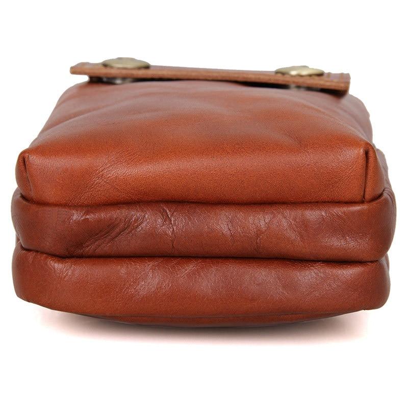 Bolsa de Cintura Casual de Viagem de Fanny de Couro Genuíno Masculino