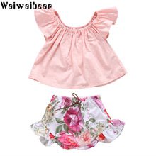 Waiwaibear Baby Girl Clothes Summer Sets Infant Short Sleeve Polka Dot Tops+ Pants Kids Suit Childrens Clothing WX3